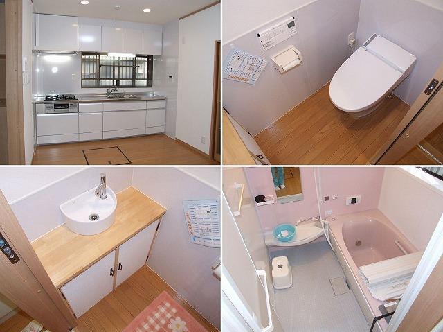 【水廻り】システムキッチン、タンクレストイレ、トイレ手洗い、浴室