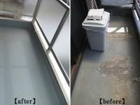 【施工後←施工前】防水シートが経年劣化による腐食ではがれていた為、新たに左官工事をし塗装防水でトップコート仕上げをしました。