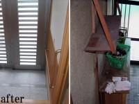 【玄関】天井までの靴箱を設け収納力を増やしました。圧迫感がより少なくなるように廊下や腰壁と同系色の色を選択。また、将来を考慮し手すりを設置致しました。
