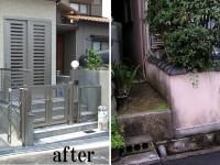 【外構 玄関】以前は、和風でしたので暗い印象でした。今回は庭を全部撤去して駐輪スペースを確保。エントランスの階段は、御影石を貼り高級感を演出しました。