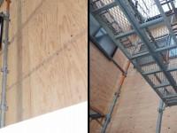 既存のサイディングを撤去後、新たに構造合板を貼ったところです。