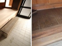 上がり框②  奈良吉野産木材を利用。