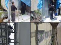 吹付塗装工事の様子