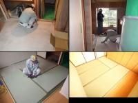 新調した畳の敷き込み中の様子です。