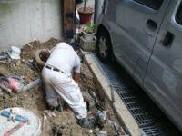 排水工事の様子です。