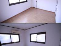 【洋室】フロアーの上貼り、クロス(天井・壁)の貼り替えを施工。
