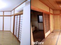 【リビング】和室だったお部屋をDKと一間にし一体的に利用できるようリフォーム致しました。<BR>既存の塗り壁が経年劣化により古くなり暗いイメージでしたが、リビングの壁には 塗り壁材『ヘルシーカラー』という自然素材の材料を採用。